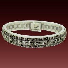 "Solid Vintage Sterling Silver/925 Round Marcasite Tennis Bracelet-7"""
