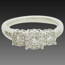 14K White Gold 0.50cttw G-SI1 3-Stone Natural Diamond w/Accents Engagement Ring