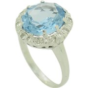 14K White Gold 5.40ctw Oval Blue Topaz w/F-VS Diamonds Accents Cocktail Ring 6.5