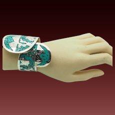 Solid Vintage Sterling Silver/925 Navajo Turquoise Story Teller Cuff Bracelet
