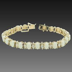 """Sterling Silver/925 Gold Plated 21.00cttw Oval Opal w/Marquise Cubic Zirconia Tennis Bracelet-7.5"""""""