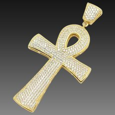 Solid Sterling Silver/925 Gold Plated 2.00cttw Round CZ Ankh Large Cross Pendant