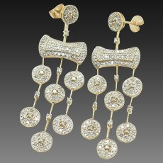 14K Yellow Gold 1.00cttw H-SI Round Natural Diamond Dangle Chandelier Earrings