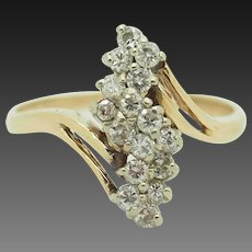 Solid 14K Yellow Gold 1.00cttw G-SI Round Cut Natural Diamond Cluster Cocktail Ring 7