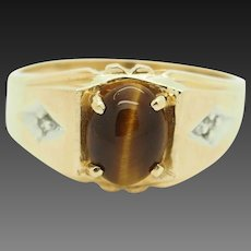 Solid 14K Yellow Gold Oval Brown Tigers Eye w/Diamond Accents Mens Band Ring 10