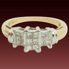 14K Yellow Gold 1.00ctw G/VS2-SI1 Princess Cut Diamond Engagement Ring 7.25