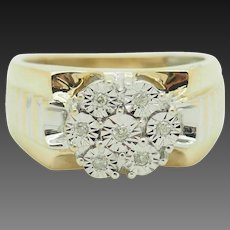 Solid 10K Two-Toned Gold 0.10cttw H-SI Round Natural Diamond Mens Ring 10