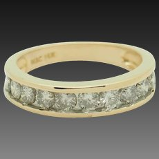 Solid 14K Yellow Gold 1.00ctw G-SI2 Round Natural Diamond Wedding Band Ring 6.75