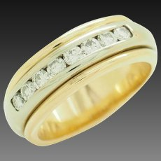 Solid 18K Two-Toned Gold 0.75cttw G-VS Round Natural Diamond Wedding Band Ring 7