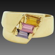 Solid Vintage 18K Yellow Gold 1.50cttw Tri-Color Topaz Cocktail Ring 9