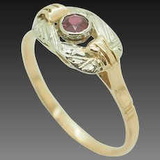 Vintage 18K Two-Toned Gold 0.25ct Round Red Ruby Gemstone Filigree Band Ring