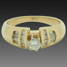 Solid 14K Yellow Gold 0.50ctw G/SI2-I1 Round Diamond Solitaire w/Accents Engagement Ring 7