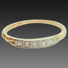 Solid 14K Yellow Gold 0.10cttw H-SI Round Natural Diamond Wedding Band Ring 6.25