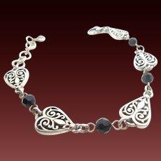 "Ladies Brighton Sterling Silver/925 w/Black Bead Onyx Heart Filigree Bracelet-9"""