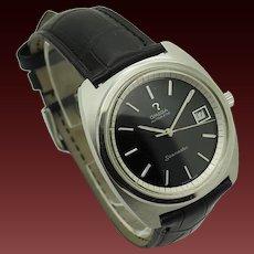 Mens 1972 OMEGA Seamaster 166.065 Cal 565 Automatic Swiss 38mm Cushion Case Black Leather Band Wrist Watch