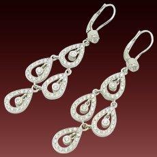 18K White Gold 2.00cttw G-VS Round Natural Diamond Dangle Chandelier Earrings
