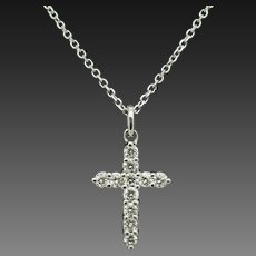 "14K White Gold 0.75cttw G-VS2 Round Diamond Religious Cross Pendant Necklace-15"""