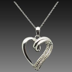 """Solid 10K White Gold 0.25cttw H-SI Round Diamond Open Heart Pendant Necklace-18"""""""