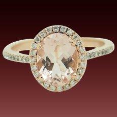10K Rose Gold Oval Smokey Topaz w/0.40ctw G-VS Diamond Accents Engagement Ring 6.75