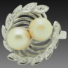 14K White Gold 7mm Pearl w/0.15ctw H-SI Diamond Accents Flower Filigree Ring 6