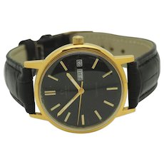 Mens 1970's OMEGA Geneve Cal 1022 Automatic Yellow Gold Plated Swiss 35mm Black Leather Band Wrist Watch.