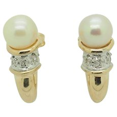 1980's Vintage Solid 14K Yellow Gold 6mm Pearl w/0.05ctw Round Diamond Accents Stud Earrings