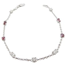 Solid 14K White Gold 1.25cttw F-VS Natural Diamond & Red Ruby Tennis Bracelet-7""