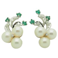 Solid 14K White Gold 7mm Pearl w/0.15ctw Diamond & Emerald Accents Flower Earrings