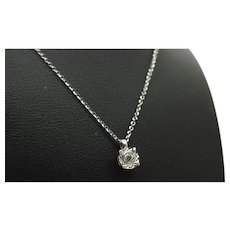 1980's Vintage 18K White Gold 0.15ct F-VS Round Diamond Solitaire Pendant Necklace-17.5""
