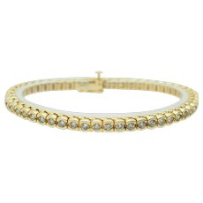 Solid 14K Yellow Gold 3.00cttw G-H/SI Round Natural Diamond Tennis Bracelet-7""