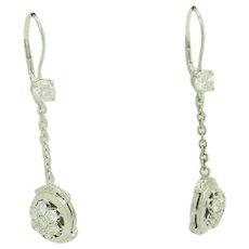 1980's Vintage 14K White Gold 2.25ctw G/VS Round Natural Diamond Dangle Drop Leverback Earrings
