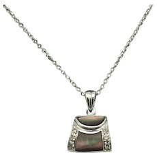 """1980's Vintage 14K White Gold Abalone Shell w/0.05ctw Diamond Accents Hand Bag Pendant Necklace-16"""""""