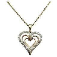 "1980's Vintage 10K Yellow Gold 0.15ctw H-SI Round Natural Diamond Triple Open Heart Pendant w/14K Necklace-16"""