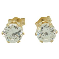 1990's Vintage Solid 14K Yellow Gold 1.70ctw Round Cubic Zirconia 6-Prong Stud Earrings