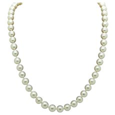 """14K White Gold Filigree Clasp 7mm Natural Freshwater Pearl Necklace-16.5"""""""