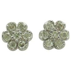 14K White Gold 0.75cttw H-SI2 Round Natural Diamond Cluster Flower Stud Earrings