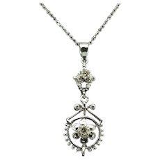 "1980's Vintage Solid 14K White Gold 0.12ctw H-SI Natural Diamond Filigree Dangle Pendant Necklace-18"""