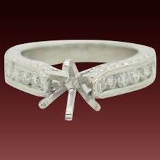 Solid 18K White Gold 1.00ctw G-VS1 Natural Diamond Engagement Ring Setting 5.5