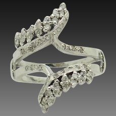 14K White Gold 0.50ctw H-SI Round Natural Diamond Insert Ring for Engagement Ring