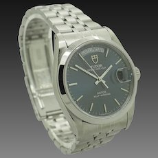 TUDOR 76200 Prince Date Day Rotor Self Winding Steel Blue Dial 35mm Swiss Watch