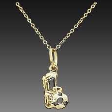 """Solid 18K Yellow Gold Soccer Cleat & Ball Enamel Pendant w/14K Gold Necklace-16"""""""