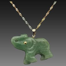 14K Yellow Gold Green Jade Elephant Dangle Pendant w/14K Tri-Color Rope Necklace