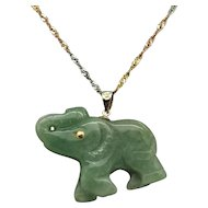 """1980's Vintage 14K Yellow Gold Green Jade Elephant Dangle Pendant w/14K Tri-Color Rope Necklace-18"""""""