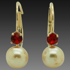 Solid 14K Yellow Gold 6mm Pearl w/0.20ctw Red Topaz Accents Leverback Earrings