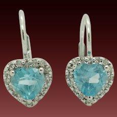 14K White Gold 1.05ctw Heart Cut Blue Topaz w/Diamond Accents Leverback Earrings