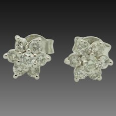 Solid 14K White Gold 0.50ctw G-SI Round Natural Diamond Flower Stud Earrings