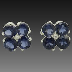 14K White Gold 0.90ctw Round Blue Sapphire w/Diamond Accents Stud Earrings