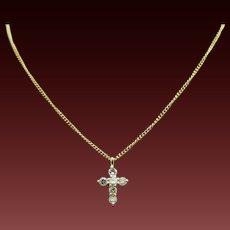 """18K Yellow Gold 0.17ctw F-VS Round Diamond Religious Cross Pendant Necklace-15"""""""