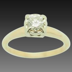14K Yellow Gold 0.17ct G-VS1 Round Natural Diamond Solitaire Engagement Ring 5.5
