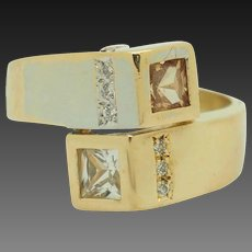 Solid 18K Two-Toned Gold 1.20ctw Topaz w/Diamond Accents Wrap Cocktail Ring 7.25